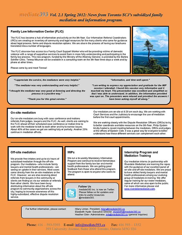 2012 - Spring - mediate393 Newsletter