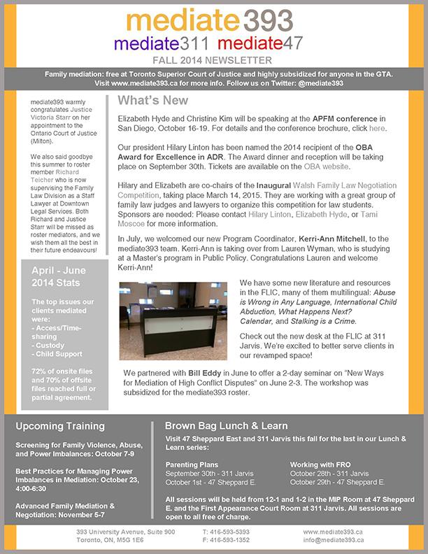 2014 - Fall - mediate393 Newsletter