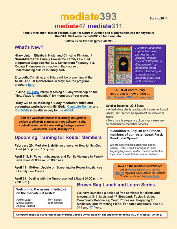 2014 - Spring - mediate393 Newsletter (Final)