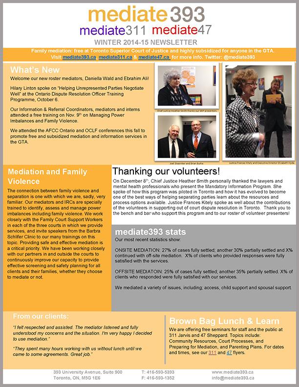 2015 - Winter - mediate393 Newsletter
